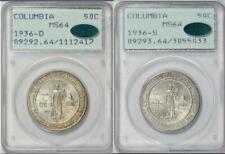1936-D + S Columbia Pair PCGS CAC Rattler MS64 Commem Half Dollar Commemorative