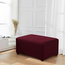 Enova Home Wine Red Jacquard Polyester Stretch Fabric Ottoman Slipcover