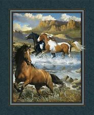 Wild Horses Rhapsody West Fabric Wall or Quilt Top Panel 100% Cotton