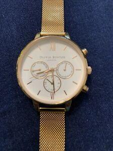 Excellent Cond Olivia Burton Ladies Yellow Gold Watch & Mesh Strap
