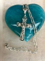 925 Sterling silver Cross Pendant 20;Long Necklace mens womens