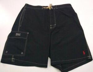 Polo Ralph Lauren Mens Swim Trunks Pony Black XL Nylon Shell Polyester Inner