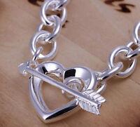 "Mother's Day 925 Sterling Silver Women's Heart Charm 7"" Bracelet Bangle D129H"