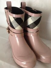 BURBERRY CHECK Girls Holloway Rain Boots Pink  Shoes Size 32""
