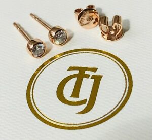 0.20tcw G/SI1 Genuine Diamond Stud Bezel Set Earrings 18ct 18k Solid Rose Gold
