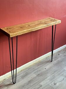 Rustic industrial style console hall table Hairpin legs inc Solid chunky wood