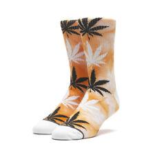 """HUF Worldwide """"Tie-Dye Plantlife"""" Crew Socks (Russet Orange) Weed Graphic Sock"""