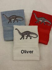 PERSONALISED DINOSAUR FACE CLOTH ANY NAME CHRISTMAS GIFT FLANNEL  EMBROIDERED!