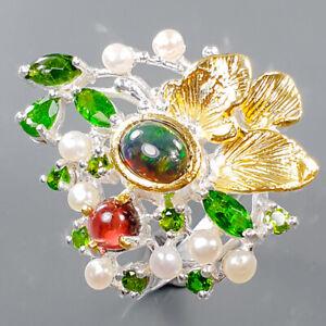 Fashion Art jewelry  Black Opal Ring Silver 925 Sterling  Size 7.75 /R169520
