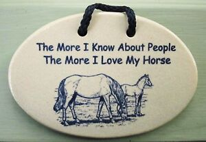 HORSE LOVER Inspirational Humor by MOUNTAINE MEADOWS Handmade Pottery Plaque USA