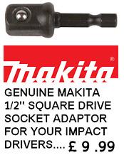 """Makita Genuine 1/2"""" Square Drive Socket Adattatore Impatto qualità 1/4 Hex Fit"""