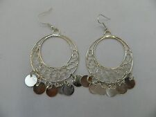 """Egyptian Metal Silver Plated Dangle Round Coin Earrings 3.25"""""""