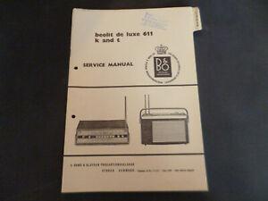 Original Service Manual Schaltplan Bang&Olufsen Beolit de Luxe 611 K and T