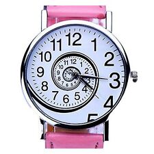Ladies Watch PINK White Time Moving Turn Spin Analogue Watches Gift Present UK