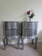 PAIR BLACK/SILVER EMBOSSED 2 DRAWER CHEST OF DRAWERS BEDSIDE TABLES  CABINETS