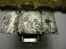 Antique Rare Miniature Story Telling Foldable Table Pull Out Draw Hanau Silver