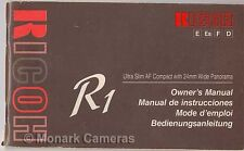 Ricoh R1 Manual. More Vintage Film Camera Instruction Books Listed