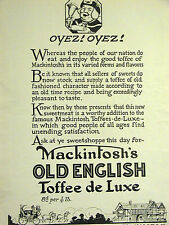 John Mackintosh OLD ENGLISH TOFFEE Advertising Candy Ad 1923  London Matted