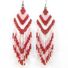 Beaded Earrings Long Hook E9/26 Pink Red New Women Long