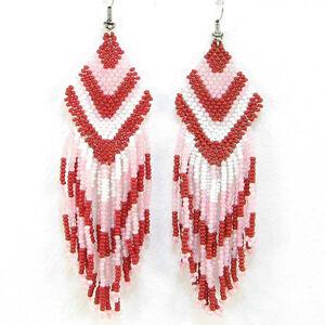 PINK RED NEW WOMEN LONG BEADED EARRINGS LONG HOOK E9/26