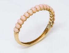 Vintage Angel Skin Coral 18K Yellow Gold Bangle Bracelet