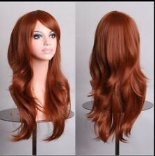 Brown 70cm Women Curly Wavy Hair Wig Fashion Costume Party Anime Cosplay
