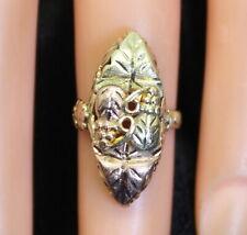 Nice Vintage 10K Black Hills Gold Style Diamond Cut Grapevine Leaf Ring