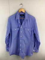 RB Sellars Allerton Poplin Men's Long Sleeve Button Up Shirt Size XL Blue Stripe