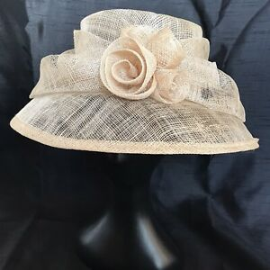 """Cream Beige Hat Elegance Collection Bow Rose Society Wedding Races 22"""" Classic"""