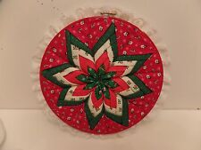 """Christmas Quilted Folded Fabric Star Embroidery Hoop Folk Art 10"""" Wall Hanging"""