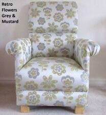 Retro Flowers Fabric Adult Chair Mustard Grey Floral Armchair Bedroom Nursery