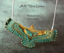 Navajo Eagle 925 Silver Necklace | Turquoise Patina on Gold Pendant | Jewellery