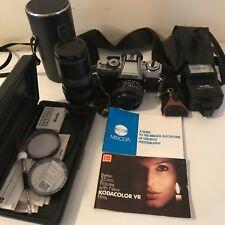 Minolta XG-M 35mm SLR Film Camera Bundle Flash Manual f=80-200mm Lens 50mm