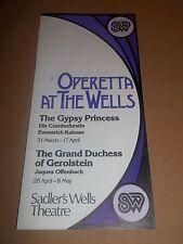 OPERATTA AT THE WELLS ~ ( SADLER'S WELLS ) BROCHURE / LEAFLET 1980'S