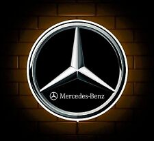 MERCEDES LOGO BADGE SIGN LED LIGHT BOX MAN CAVE GARAGE WORKSHOP GAMES ROOM GIFT