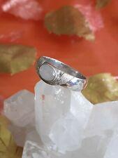 Impresionante Plata Esterlina 925 blanco natural Ópalo De Fuego Diseño único 3 Anillo de piedra
