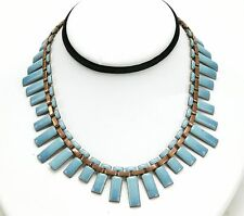 """Vintage Mexican Necklace With Blue Enamel On Copper Pieces. 15"""" Long. Unusual."""