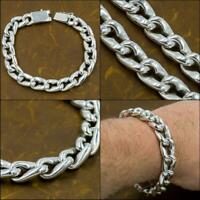 """9"""" 23cm 72g HEAVY CURB LINK CHAIN 925 STERLING SOLID SILVER MENS BRACELET"""