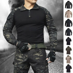Airsoft Men's US Army Tactical T-Shirt Military Combat Shirt Camouflage Outdoor