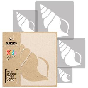 5x stencil riutilizzabili in PLASTICA 34x34 a 9x9cm bambini // CONCHIGLIA A CONO