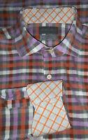 TD Thomas Dean Sz MEDIUM Purple Orange Plaid L/S Button Down Shirt Flip Cuff EUC