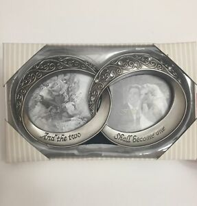 """Fetco """"And The Two Shall Become One"""" Wedding Double Rings Picture Frame, Sealed"""