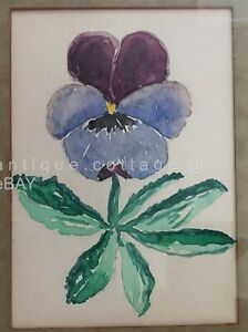 1965 vintage GEORGE LEAMAN MYERS WATERCOLOR ART pansy MARY WALTER lancaster pa