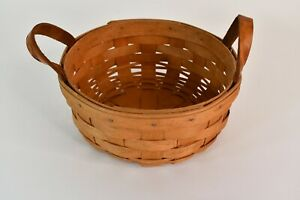 Longaberger Handwoven Brown Basket Made In Dresden Ohio With Handles