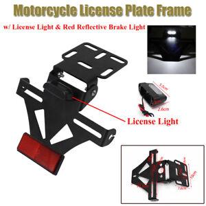 Motorcycle Bike License Plate Frame w/License Light & Red Reflective Brake Light