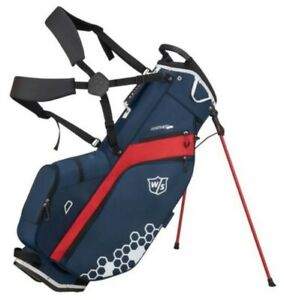 """Wilson Staff Feather Carry Bag Straps 5 Divider 9.5"""" x 7"""" Top Rain Hood Navy/Red"""