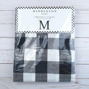 Middleton Fabric Tablecloth Buffalo Plaid Black White 52x70