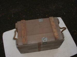 Ammunition Case Box Wooden Lockable Lid Rope Handles