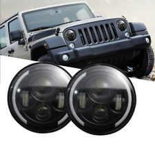 2x 7 inch LED Headlights Halo Angel Eyes For Jeep Wrangler JK TJ CJ LJ 07-2016