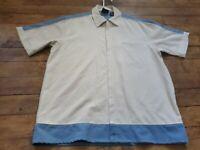 John Blair Fine Mens Wear Zip Up Short Sleeve Shirt Tan and Blue Size Medium